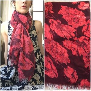 Accessories - Red & Burgandy Floral Print Scarf